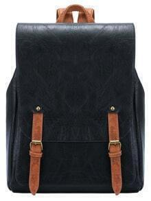 Black Leather Buckle PU Backpack
