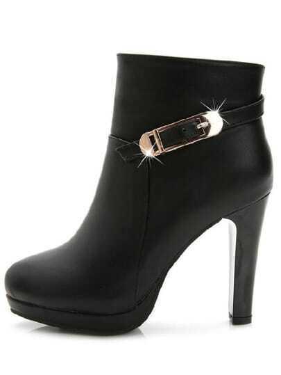 Black High Heel Zipper Buckle Strap Boots