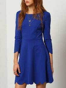 Blue Round Neck Ruffle Dress