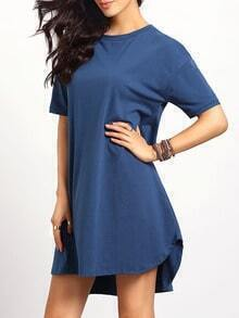 Blue Short Sleeve Round Neck Casual Dress