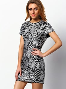 Silver Cap Sleeve Sequined Dress