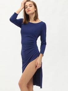 Blue Round Neck Ruched Dress