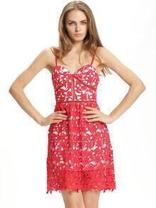 Red Spaghetti Strap Lace Flare Dress