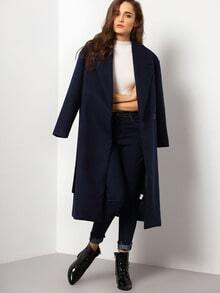 Navy Long Sleeve Lapel Coat