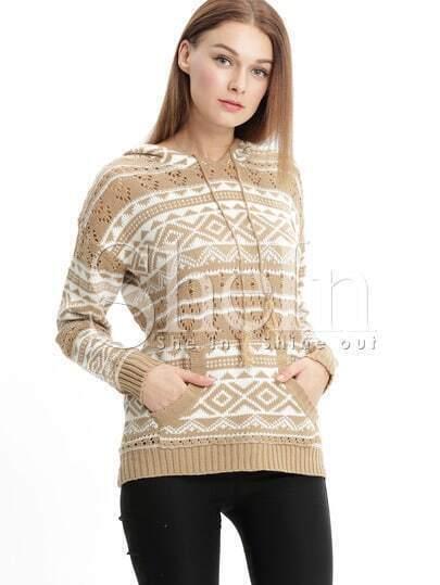 Jersey manga larga con capucha geométrico -albaricoque