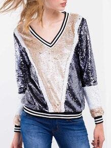 Navy Apricot Long Sleeve Color Block Sequined Sweatshirt