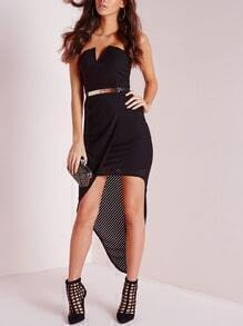 Black Strapless Asymmetric Dress