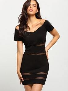 Black Short Sleeve Off The Shoulder Bodycon Dress