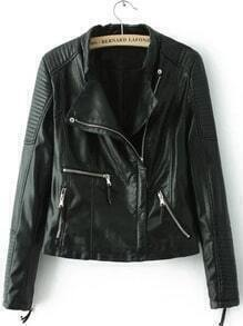 Black Stand Collar Zipper Crop PU Jacket