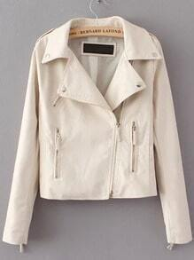 Beige Lapel Epaulet Zipper Crop Jacket