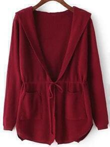Red Hooded Drawstring Waist Pockets Sweater Coat