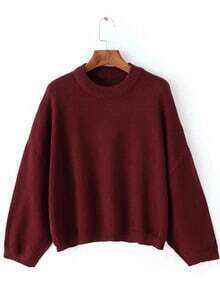 Red Round Neck Batwing Sleeve Crop Sweater