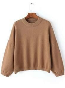 Khaki Round Neck Batwing Sleeve Crop Sweater