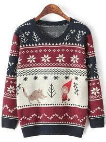 Multicolor Round Neck Snowflake Print Sweater