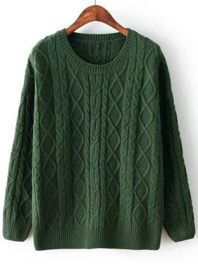 Green Diamond Patterned Cable Knit Sweater