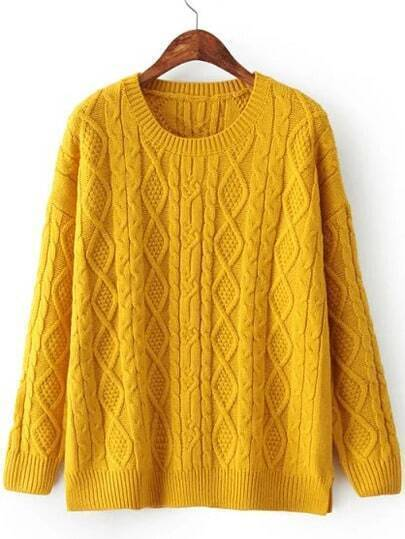 Yellow Diamond Patterned Cable Knit Sweater