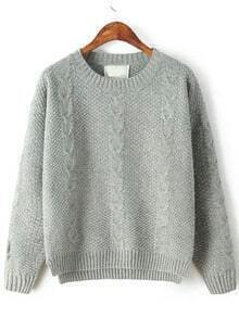 Grey Round Neck Classical Cable Knit Sweater