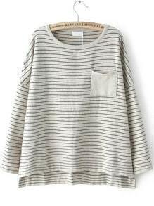 Light Grey Round Neck Striped Pocket Knitwear