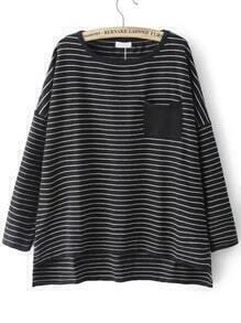 Black Round Neck Striped Pocket Knitwear