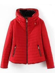 Red Long Sleeve Quilting Zipper Pockets Coat