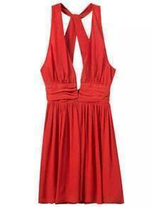 Red Deep V Neck Backless Chiffon Dress