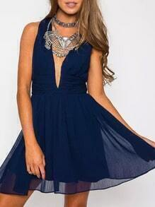 Navy Deep V Neck Backless Chiffon Dress