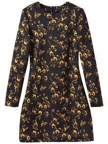 Yellow Black Round Neck Floral Dress