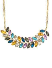 Colorful Rhinestone Long Leaf Necklace