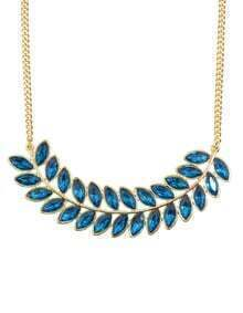 Lakeblue Rhinestone Long Leaf Necklace