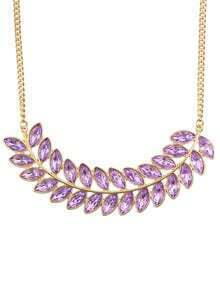 Purple Rhinestone Long Leaf Necklace