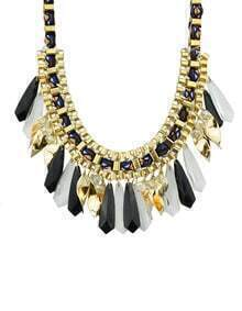 Black Long Stone Statement Collar Necklace