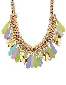 Colorful Long Stone Statement Collar Necklace