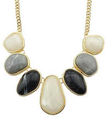 Black Big Stone Necklace