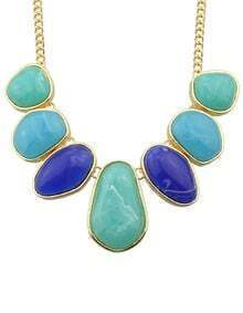 Blue Big Stone Statement Female Necklace