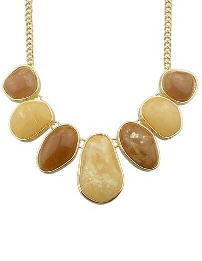 Coffee Big Stone Necklace