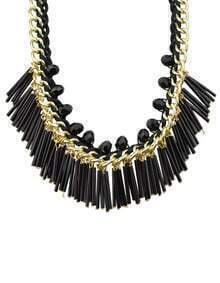 Black Long Resin Tassel Statement Female Necklace