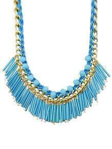 Blue Long Resin Tassel Statement Female Necklace