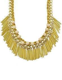Gold Long Resin Tassel Statement Female Necklace