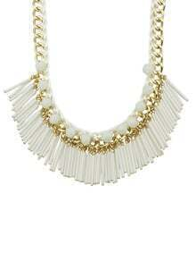 White Long Resin Tassel Statement Female Necklace