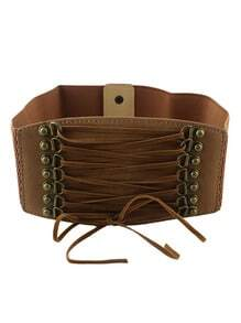 Brown PU Leather Elastic Wide Fashion Waist Belt