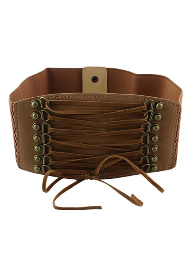 brown pu leather elastic wide belt shein sheinside