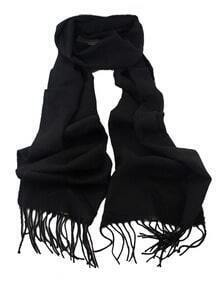 Black Soild Cashmere Fringer Fashionable Woman Scarf