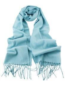 Blue Soild Cashmere Fringer Fashionable Woman Scarf