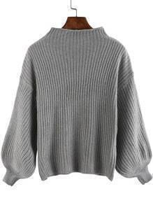 Grey Lantern Sleeve Loose Crop Sweater