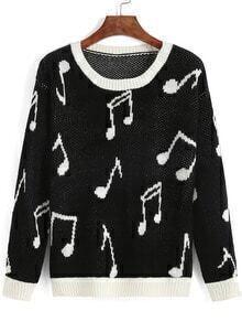 Black Round Neck Note Print Sweater