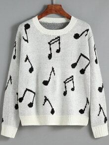 White Round Neck Note Print Sweater