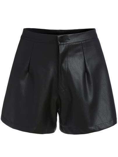 Black High Waist Wide Leg PU Shorts
