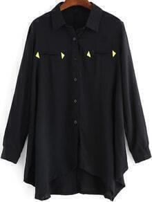 Black Lapel Triangle Embellished Dip Hem Blouse