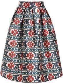 Multicolor Vintage Floral Flare Skirt