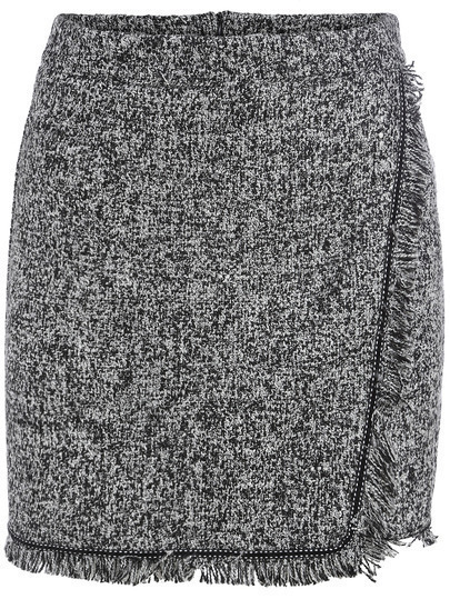 Grey Fringe Bodycon Skirt